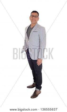 A handsome middle age Hispanic man standing isolated for white background in a jacked and jeans.