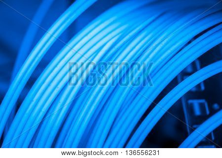 bunch of optic fiber cables