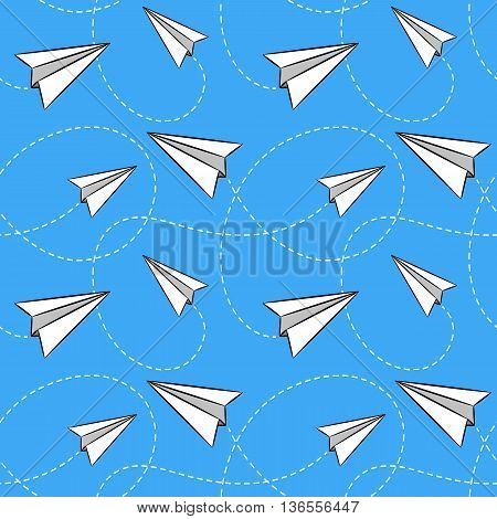 Set of seamless backgrounds with a paper airplane