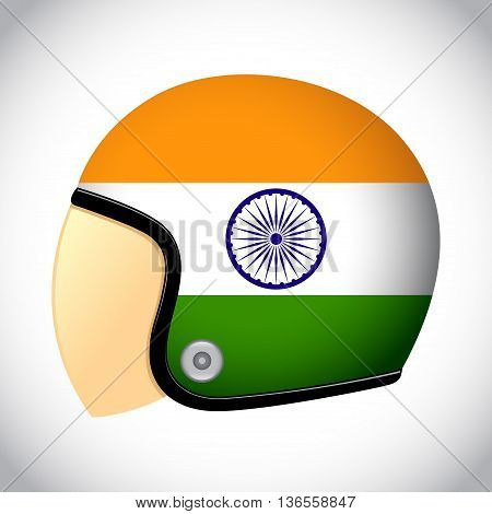 Vector stock of retro classic motorcycle helmet with India flag