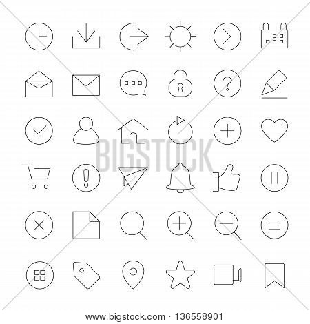Basic ICT outlines vector icons collection set