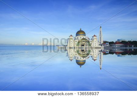 Malacca Straits Mosque ( Masjid Selat Melaka) It is a mosque located on the man-made Malacca Island near Malacca Town Malaysia