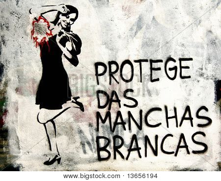Political Portuguese graffiti of a lady advertising deodrant. Similar to Banksy work