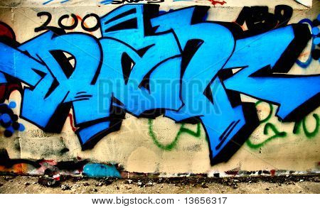 Blue graffiti