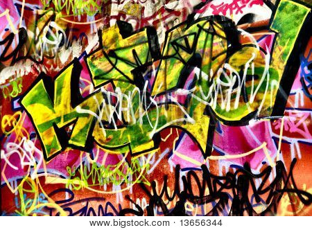Very colorful scribbles of graffiti
