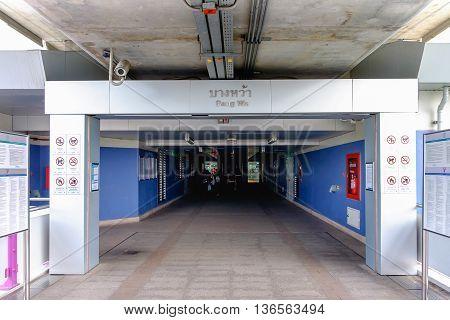 Bangkok Thailand - June 18 2016: The Bangkok Mass Transit System (BTS) Station at Bang wa district in Bangkok Thailand. It is an elevated rapid transit system in Bangkok.