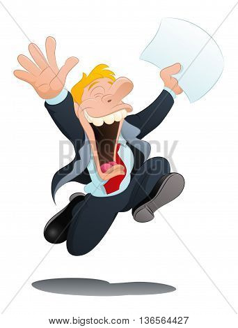illustration of a happy businessman hold papers on isolated white background