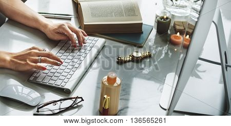 Woman Working Computer Smiling Flower Concept