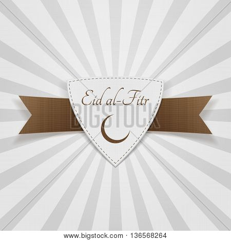 Eid al-Fitr muslim paper Badge. Vector Illustration