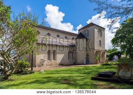 old stone church in caribbean island Barbados