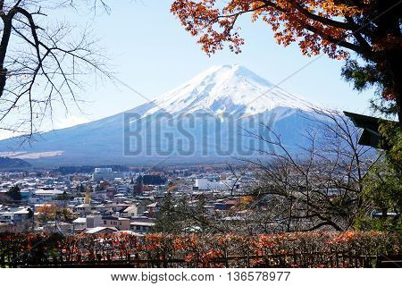 Mountain Fuji with fall colors in Japan.