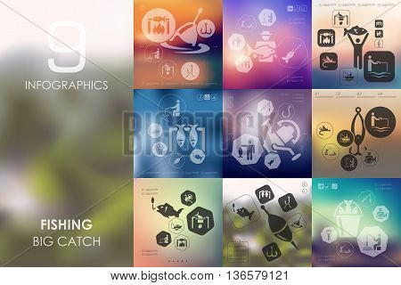 fishing vector infographics with unfocused blurred background