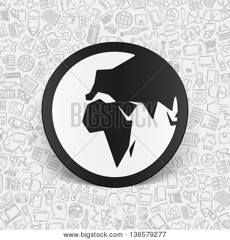 hand drawn simple elements with business paper sticker shadow
