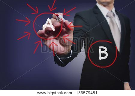 business man shoot option A, decision, choosing