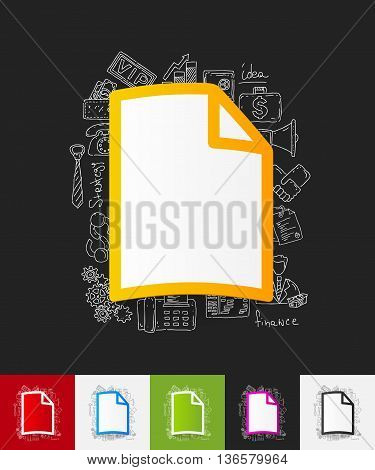 hand drawn simple elements with blank paper sticker shadow