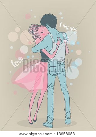 cute cartoon colorful young couple in love embrace