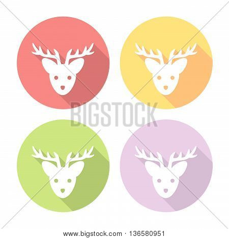 Christmas Deer Flat Icons Set