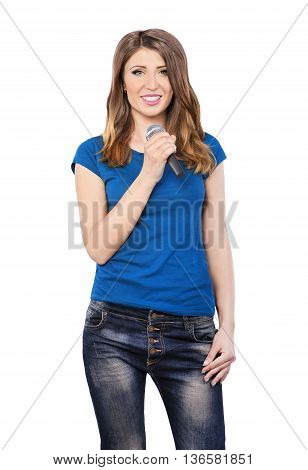 Preety woman singing into a microphone on white