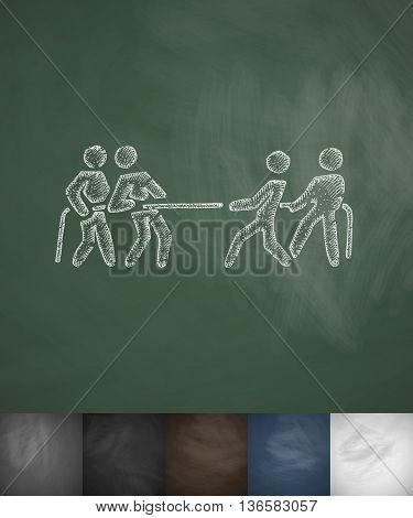 tug of war icon. Hand drawn vector illustration. Chalkboard Design