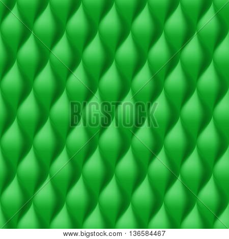 Vertical Convex Wavy Seamless Pattern. Green Color Background