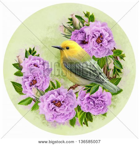 Little yellow bird on a branch. Inflorescence flower lilac roses. circle. Round form.