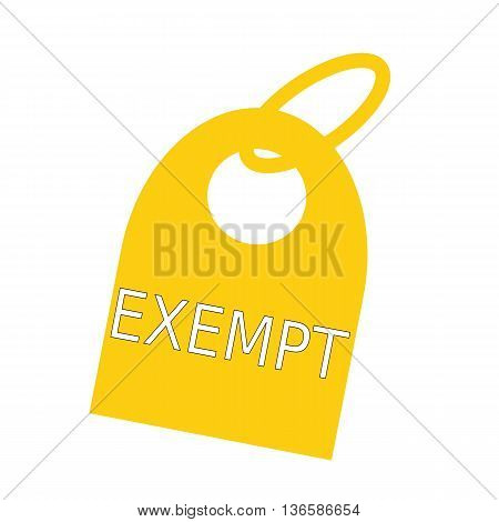 exempt white wording on background yellow key chain