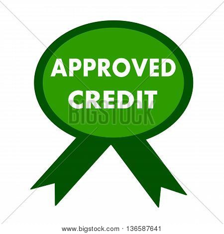 approved credit white wording on background green ribbon
