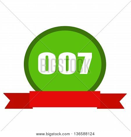 007 white wording on Circle green background ribbon red