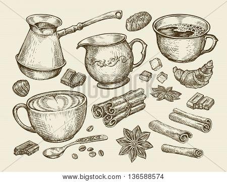 Food, tea, coffee. Hand-drawn cup, cinnamon, anise, creamer, teaspoon croissant sugar beans chocolate candy turk Sketch vector illustration