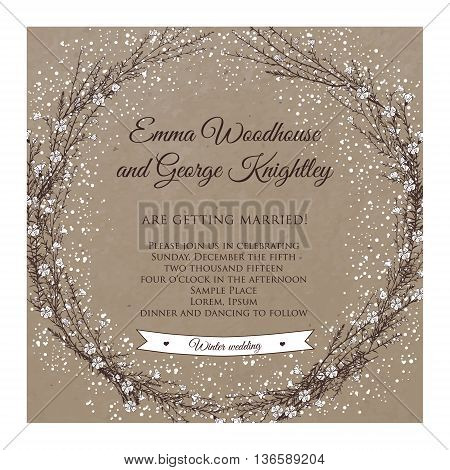 winter wedding invitation card on kraft with hand drawn branch of flax