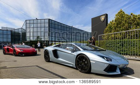 Sant'Agata Bolognese, Italy - April 30, 2016: Lamborghini parade in front of the Lamborghini factory in Sant'Agata Bolognese for the 100th Ferruccio Lamborghini Anniversary