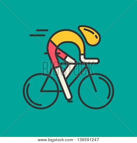 Modern Illustration of cyclist. Flat bicyclist in yellow jersey isolated on green background. Healthy lifsetyle or bicycle race logo concept. Bicycle racer made in trendy thin line style vector.