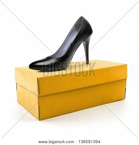 High heel shoe and box isolated on a white background.