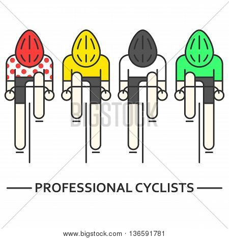 Modern Illustration of cyclists. Flat bicyclists in yellow, green, white and red polka dot jersey isolated on white. Cycling logo, icon concept. Bicycle racers made in trendy thin line style vector