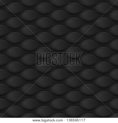 Embossed Texture Wave. Seamless Pattern Light Black Color