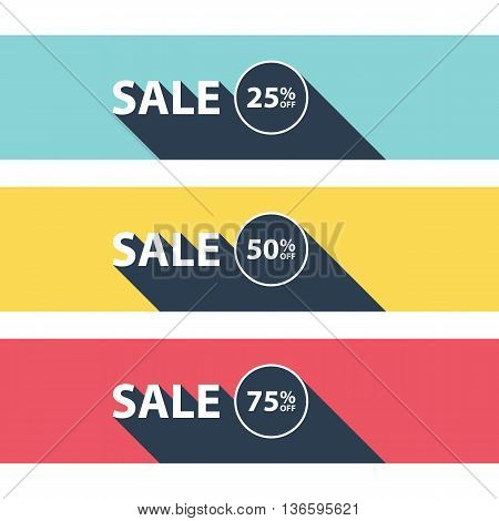 Set of sale banners. Business concept with text sale and long shadow. Sale tags. Special offer. Discount sign. Vector illustration.