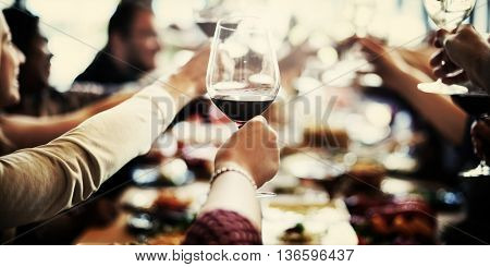 Dinner Dining Wine Cheers Party Concept poster