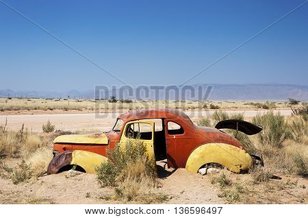 An old rusty car in Solitaire Namibia