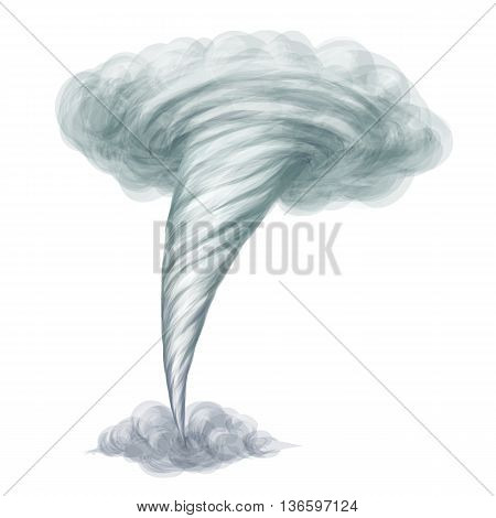Cartoon style hand drawn vector tornado isolated on white background