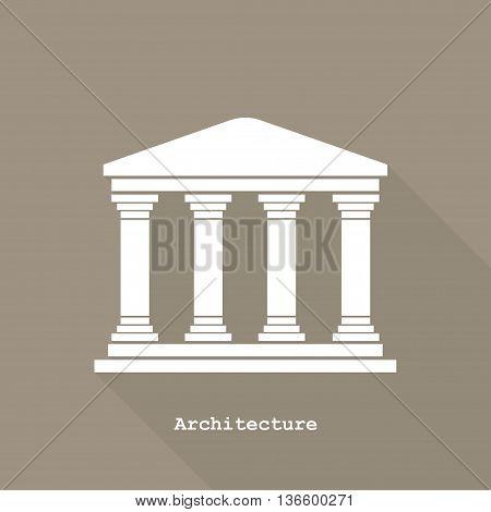Greek Temple Icon Vector Illustration Flat Design