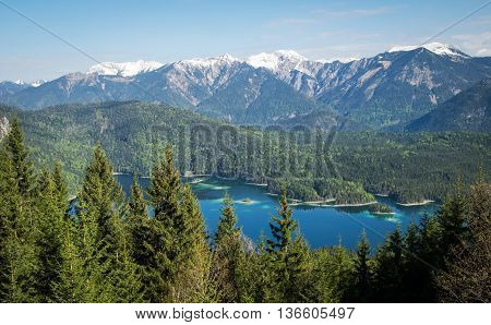 Panoramic view of Alps and Eibsee Lake Bavaria Germany