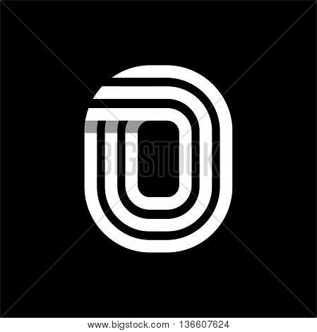 Capital letter O. Made of of three white stripes Overlapping with shadows. Logo, monogram, emblem trendy design.