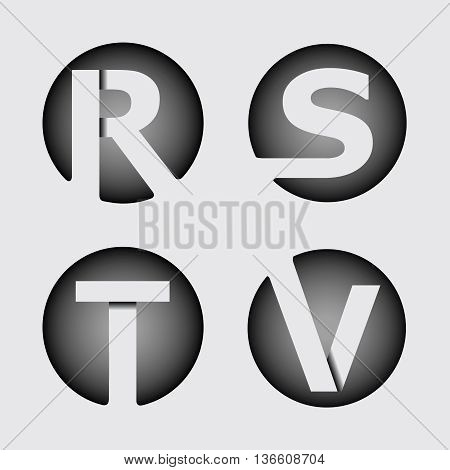 Capital letter R, S, T, V. Made of wide white stripes Overlapping with shadows. Logo, monogram, emblem trendy design.