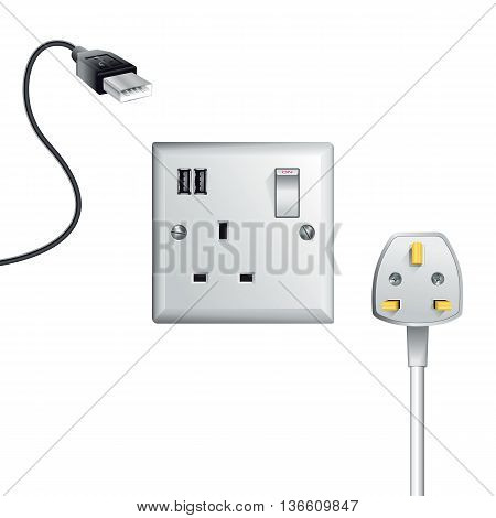 Electrical outlet in the UK power socket with USB - Universal Serial Bus