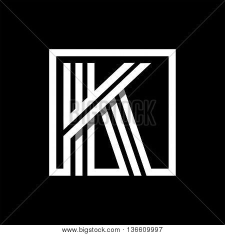 K capital letter made of of three white stripes enclosed in a square. . Overlapping with shadows monogram, logo, emblem. Trendy design.