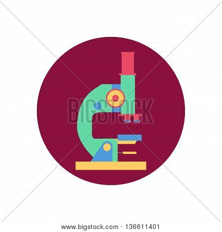 Microscope ison isolated on white. Science laboratory, lab chemistry, research scientific, microscope and experiment, chemical lab science test, technology. Flat illustration.