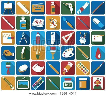 bright colored icons on white background on a theme: the attributes of art and creativity