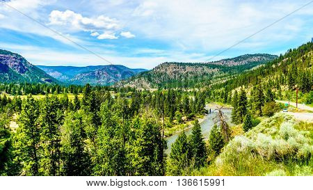 The Nicola River flows through the Lower Nicola Valley near Merritt on its way to the Fraser River at Spences Bridge in British Columbia, Canada