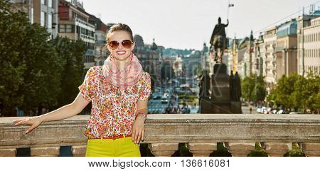 Happy Woman Near National Museum At Wenceslas Square, Prague