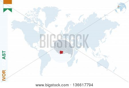 Blue World Map With Magnifying On Ivory Coast.